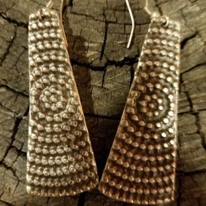 silver shield graphic ethnic pierced earrings
